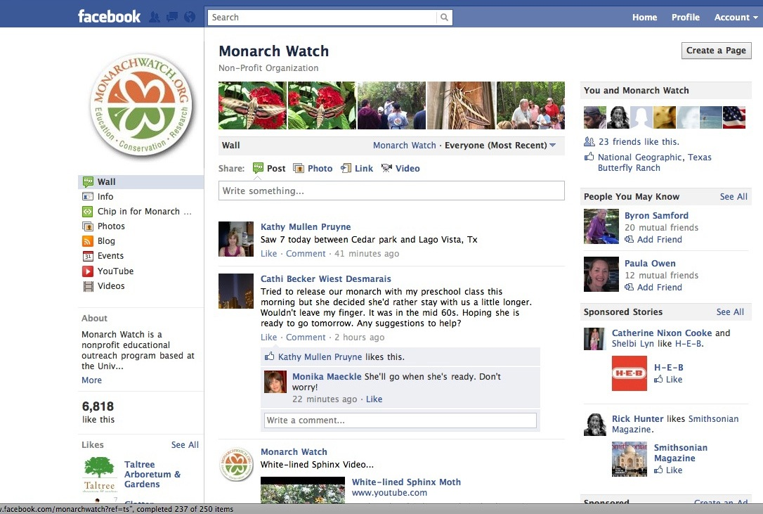 Monarch Watch Facebook page