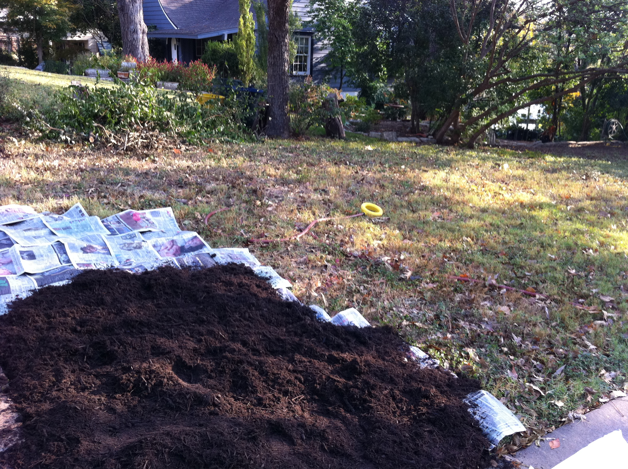 Turf-to-bed conversion: six-10 layers of newspaper with three-four inches of mulch