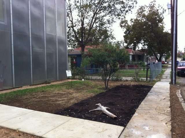 """Future butterfly garden. Hilary Scruggs """"Cube"""" has a grey water sprinkler system"""