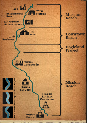 San Antonio River Improvements Project Map